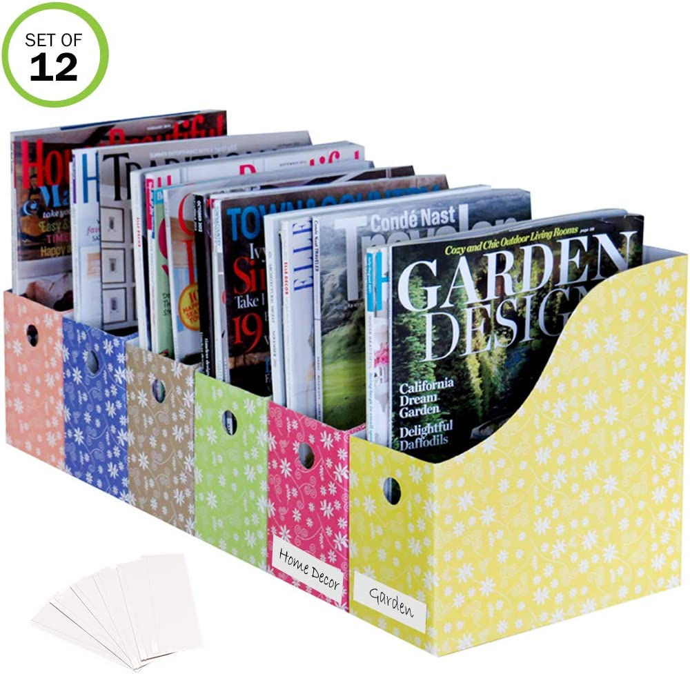 Evelots Magazine File Holder-Organizer-Full 4 Inch Wide-Floral-with Label-Set/12