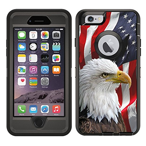 Protective Designer Vinyl Skin Decals/Stickers for OtterBox Defender iPhone 6 / iPhone 6S Case -Bald Eagle American Flag Design Patterns - Only Skins and NOT Case - by [TeleSkins] (Iphone 6 Skins American Flag)