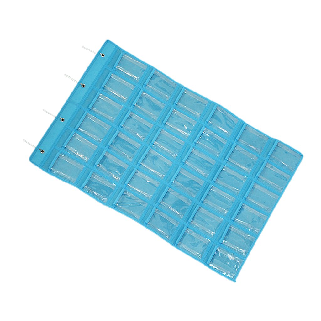 Generic 36 Mini Pockets Clear Hanging Jewelry Organizers Closet Storage Bag 3 Colors - Blue