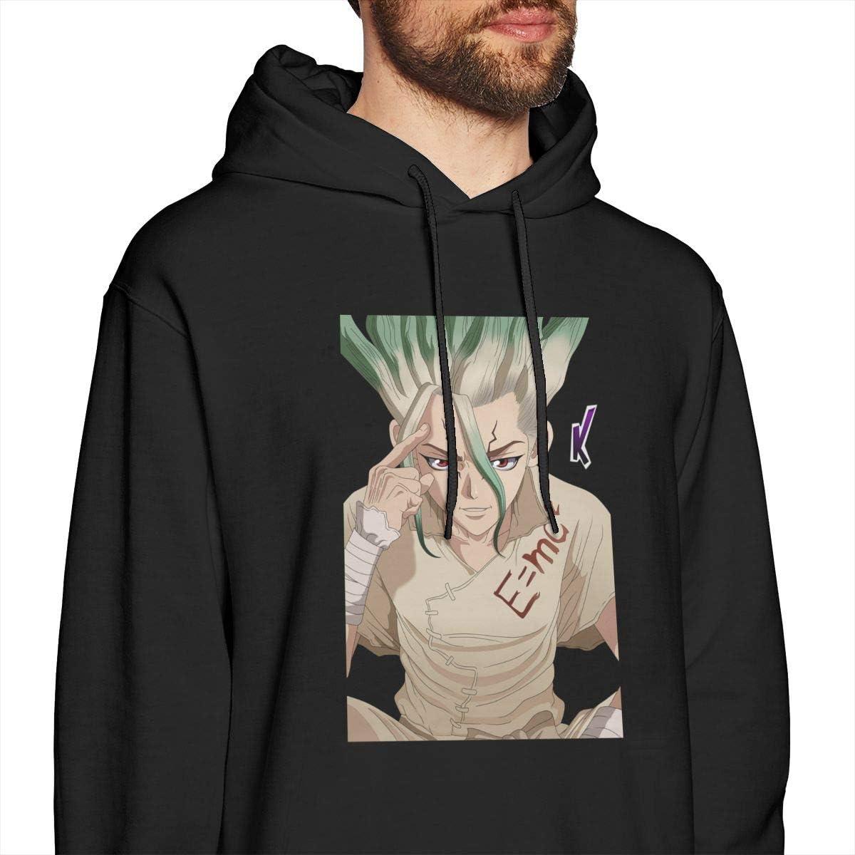 Luckyoung Dr Stone Comfort Mens Long Sleeve Fleece Hoodie Sweater Black