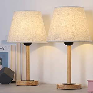 Wood Table Lamp Set of 2, Small Bedside Lamp with Linen Lampshade, Dresser Lamp Pairs for College Dorm, Coffee Table, Office