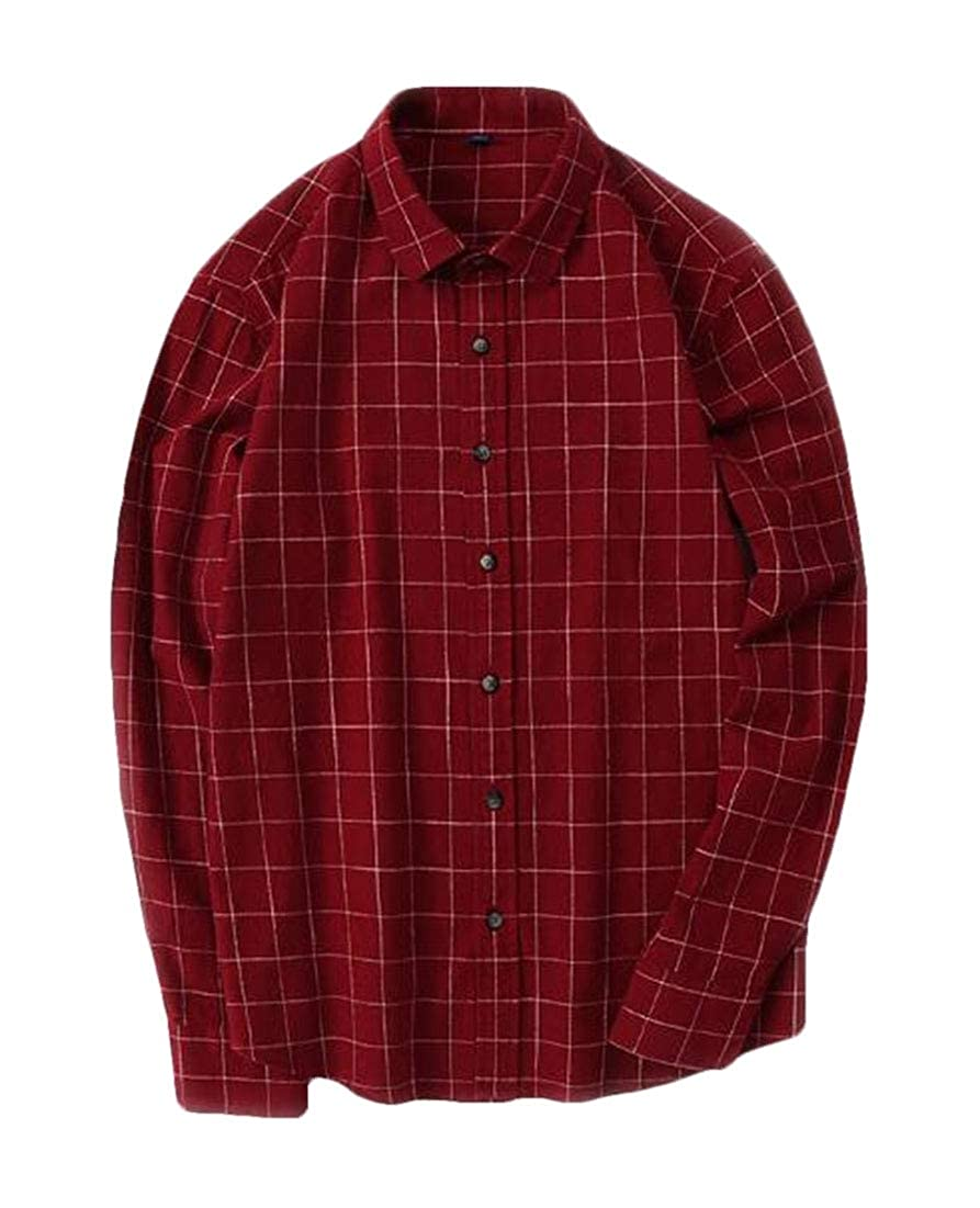 BYWX Men All-Match Cotton Buffalo Casual Flannel Retro Long Sleeve Shirts one US S