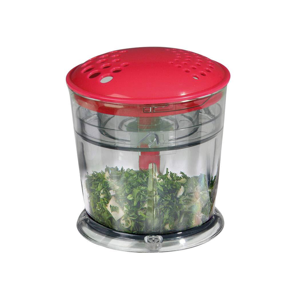 Elettrico Multi Tritatutto inox AFFETTA/SBUCCIA alimenti frullatore Chopper Erbe (cipolla trituratore, 250ML–Ciotola con coperchio diffusa, 160Watt, Rosso Bianco) DomoClip