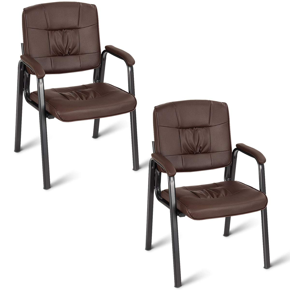 Giantex 2 PCS Reception Chair PU Leather Office Executive Ergonomic Guest Meeting Chair (Brown)