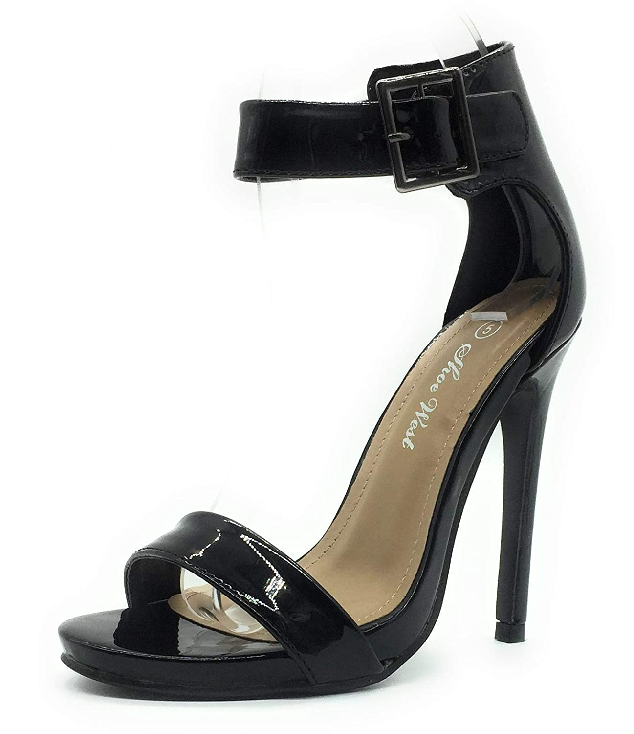 Black Pat Sexy Open Toe Pump shoes -Cross Strap Party Dress Platfoms Ankle Strap Dress High Heels Stilettos