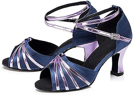 Fuxitoggo Chaussures de Danse Latine pour Femmes, Talons