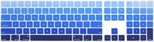 WYGCH Ultra Thin Silicone Full Size Wireless Numeric Keyboard Cover Skin for Mac 2017 Latest Magic Keyboard with Numeric Keypad MQ052LL/A A1843 US Layout,Ombre Blue
