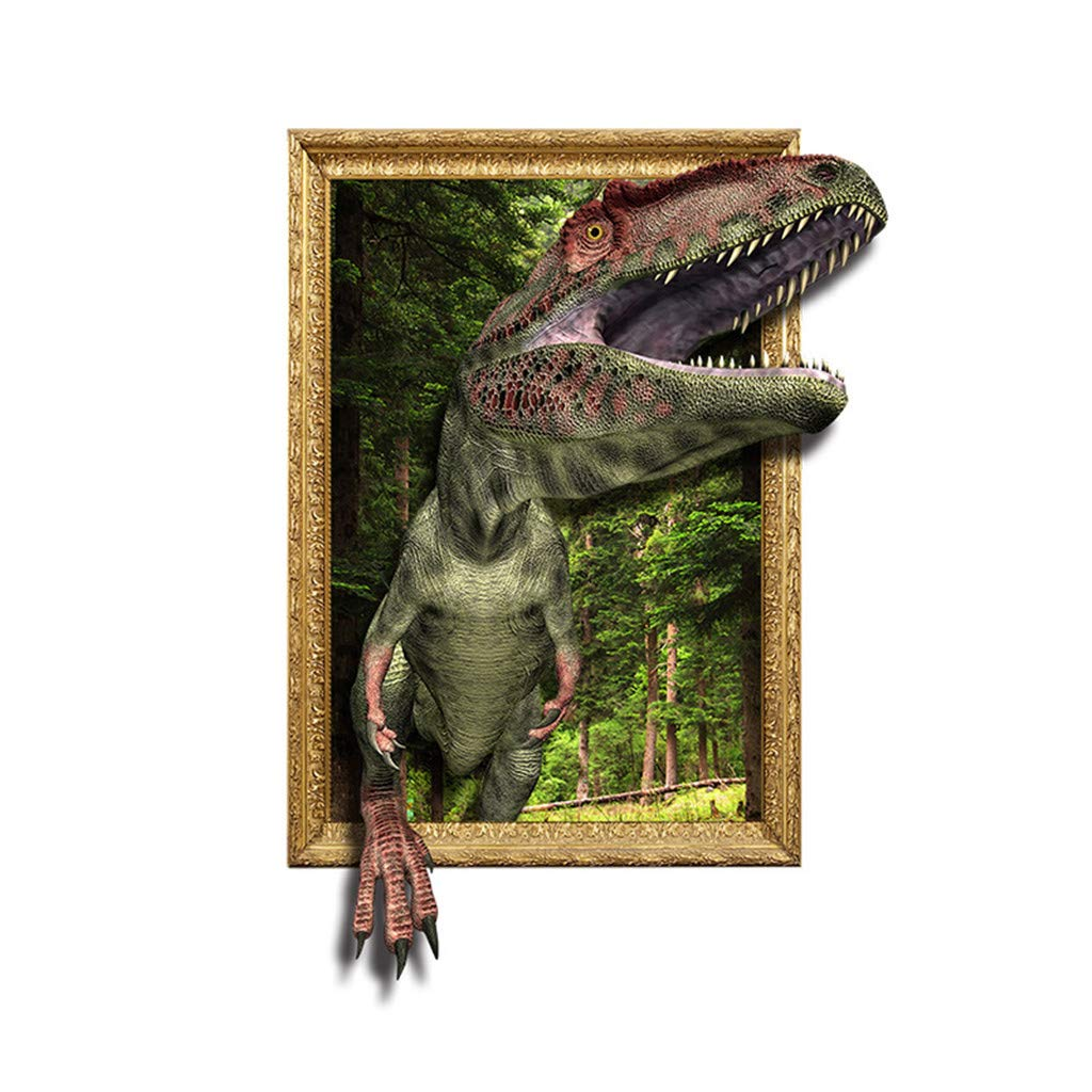 Ecurson 3D Dinosaur Three-Dimensional Decorative Painting Wall Stickers/Tyrannosaurus Hanging Painting PVC Removable Living Room Background