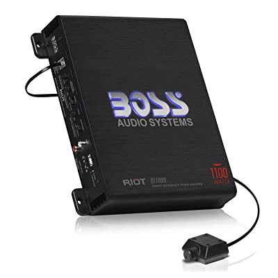 BOSS Audio Systems R1100M Monoblock Car Amplifier - 1100 Watts Max Power, 2/4 Ohm Stable, Class A/B, Mosfet Power Supply, Remote Subwoofer Control: Car Electronics