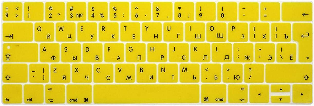 2020 EU Russian for MacBook Pro 13 15 Inch Keyboard Protective Film Color Keyboard Cover for Touch Bar A1706 A1707 A1989 A1990 A2159-Gradient Gray