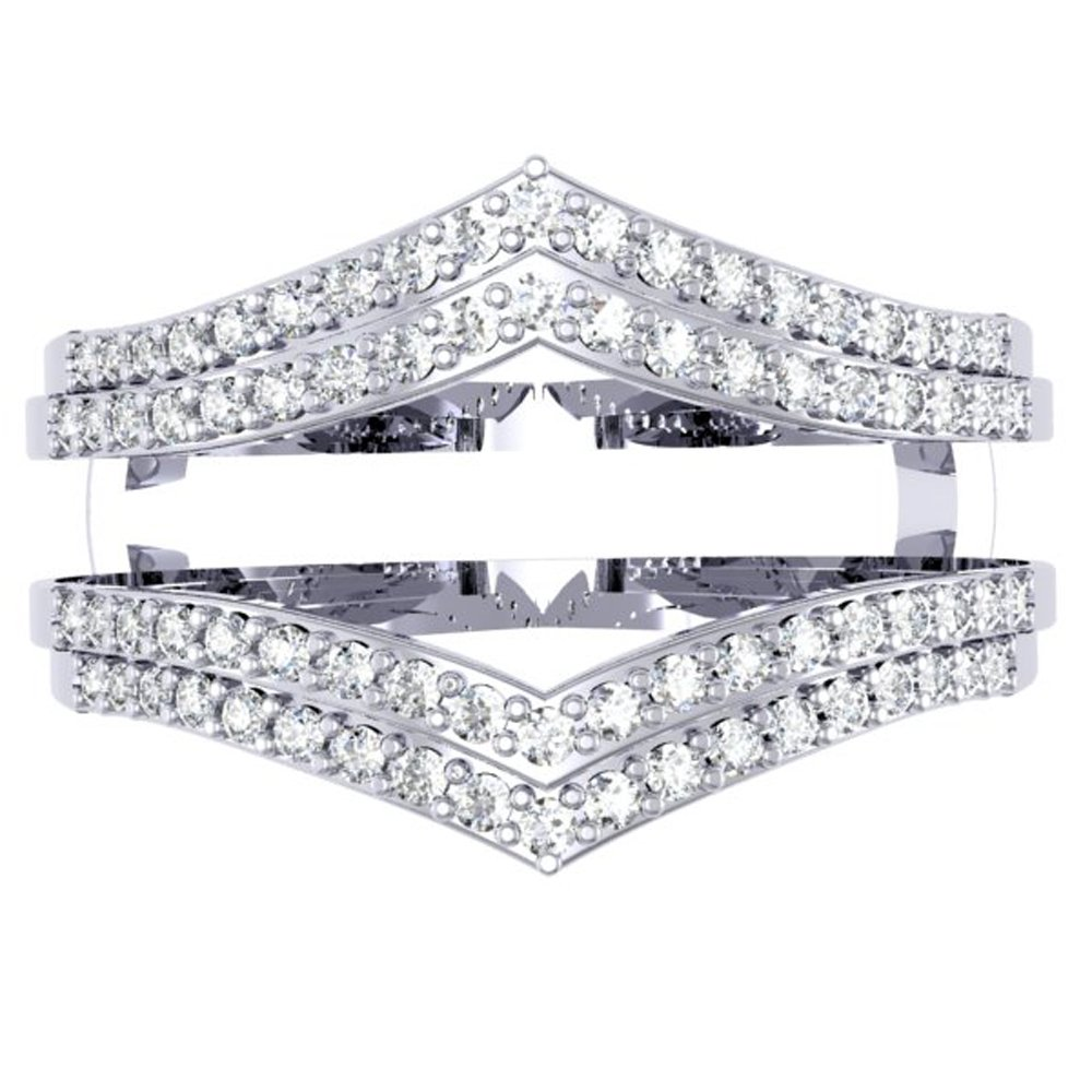Dazzlingrock Collection 0.50 Carat (ctw) 14K Round Diamond Ladies Anniversary Wedding Band Enhancer Guard Double Ring 1/2 CT, White Gold, Size 7.5