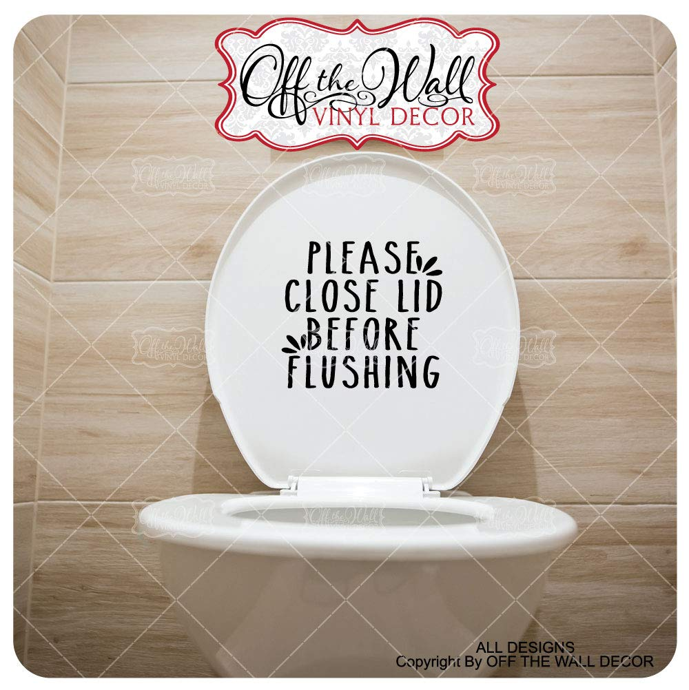 Toilet Lid Decal Sticker #FMH2 Farmhouse Styled Bathroom ToiletPlease close lid before Flushing