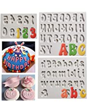 Número de letra Molde fondant de silicona Mayúscula Mayúscula Alfabeto Molde para cumpleaños Boda Baby Shower