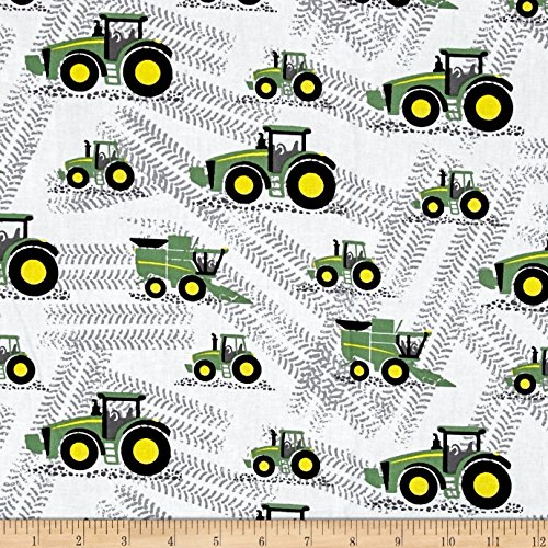 """1 Yard - """"Little Farm"""" John Deere Tractors Tossed on White Cotton Fabric - Officially Licensed (Great for Quilting, Sewing, Craft Projects, Throw Blankets & More) 1 Yard X 44"""""""