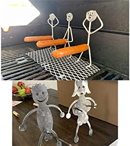 Twrooned Steel Hot Dog/Marshmallow Roasters, Novelty Women Men Shaped Stainless Steel Camp Fire Roasting Stick, Funny Metal Craft Barbecue Forks for Campfire,Bonfire and Grill (5pcs)