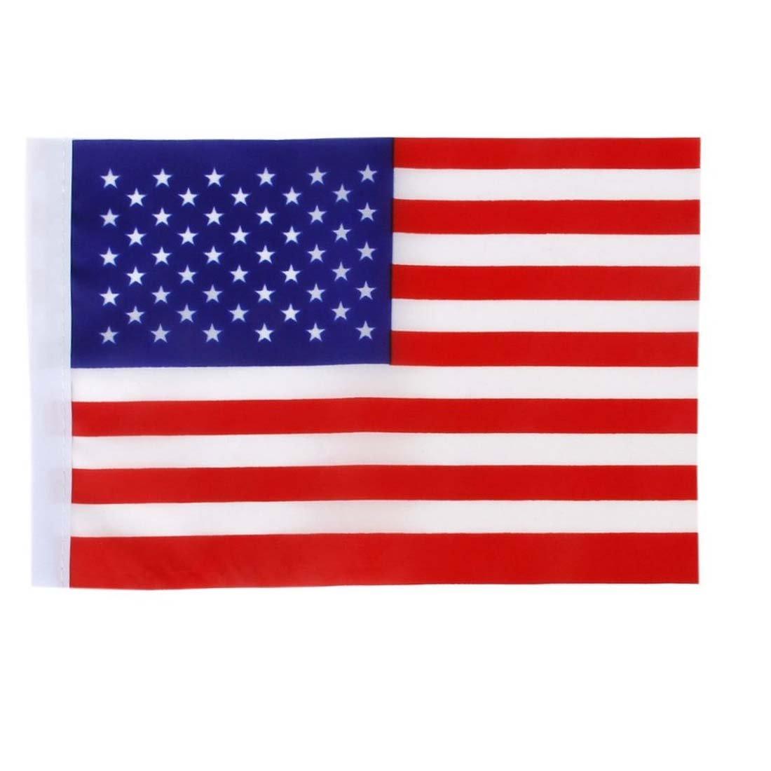 REFURBISHHOUSE Lot de 12pcs 21x14cm Mini Drapeau Americain USA Fanion avec Mats Rouge+Blanc+Bleu