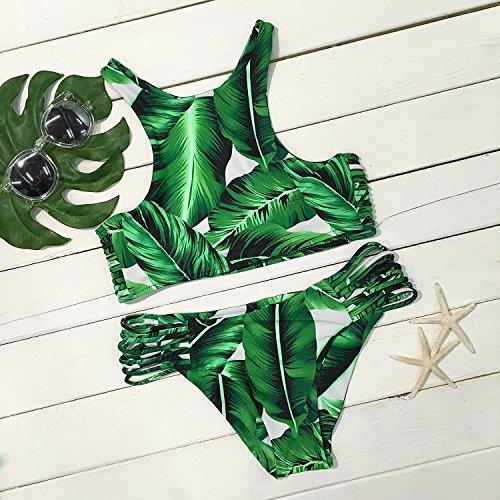 Dare Color Damen Kokosnussbaum Drucken Bikinis Sets Badeanzug Blumen Strappy Cut Outs Bademode Badeanzug Gepolstert Strandkleidung mit Tropische Blätter (XL)
