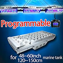 DSunY 3x LED Aquarium Light 360W Saltwater Lamp for Coral Reef Marine Fish Tanks, with 1 Controller, 3W Bridgelux, Full Color Spectrum Grow dimmable led lamp