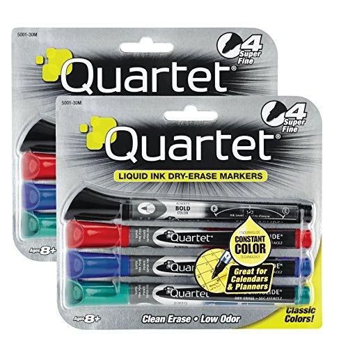 - Quartet : EnduraGlide Dry Erase Markers, Chisel Tip, Assorted Colors, 4/Set -:- Sold as 2 Packs of - 4 - / - Total of 8 Each