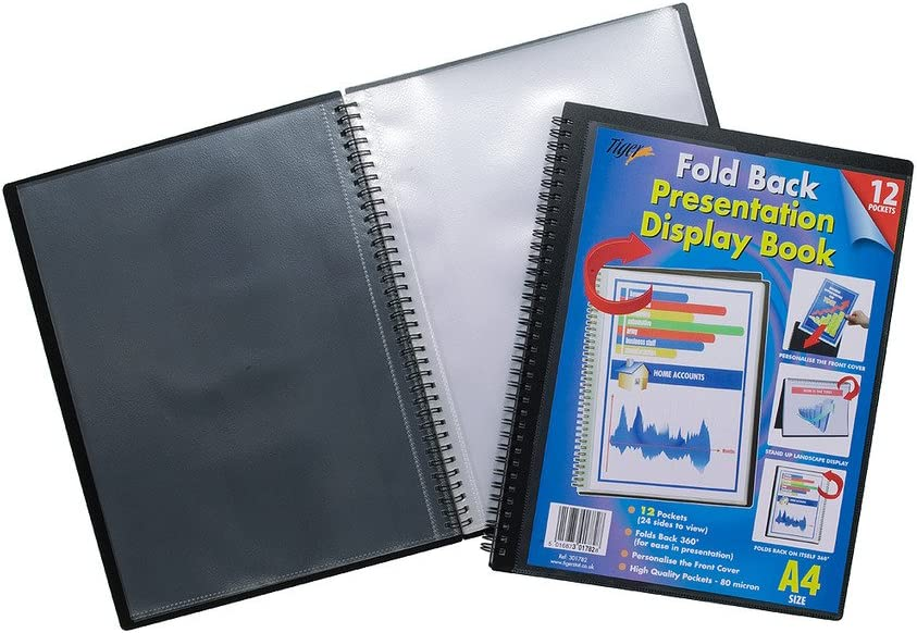 12 pockets Tiger A4 foldback presentation display book