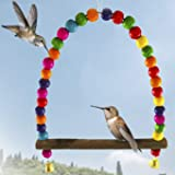 Humming Bird Swing Perch - Wooden Dowel Makes for Perfect Resting spot - Allows Birds to Watch and Guard Their Food Source - Attractive Colorful Beads adds Charming Accent to Garden