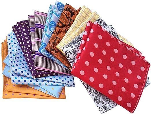 MENDENG Mens 10 Pack Polka Dot Stripe Assorted Pocket Square Silk Handkerchief