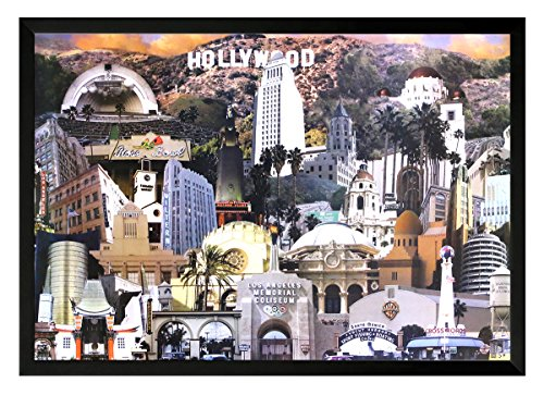 Hollywood Landmarks and Famous Buildings Framed Poster Art Print On a black frame. Made in USA