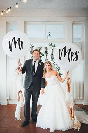 Amazon Com 36 Mr Mrs Balloons Wedding Balloons With Two Paper