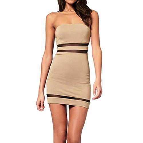 Sue&Joe Women's Tube Dress Mini Bodycon Tight Fitted Bandeau Short Pencil Dress