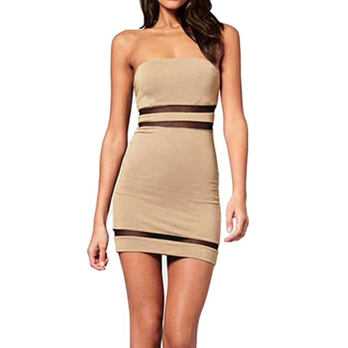 3380028b07 Sue&Joe Women's Tube Dress Mini Bodycon Tight Fitted Bandeau Short Pencil  Dress, Khaki, ...