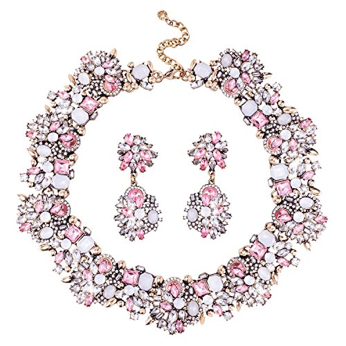 Jane Stone Fashion Gold Collar Necklaces Bling Rhinestone Jewelry Set for Women (Pink Stone Set)