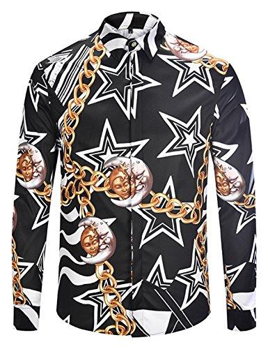 - Pizoff Mens Long Sleeve Luxury Star Golden Chain Print Dress Shirt AL082-02-M