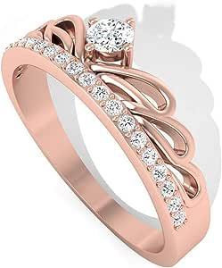 Solid 14K Gold IGI Certified Diamond Crown Engagement Ring, Art Deco Tiara IJ-SI Diamond Bridal Wedding Rings, Anniversary Promise Ring Set for Mother