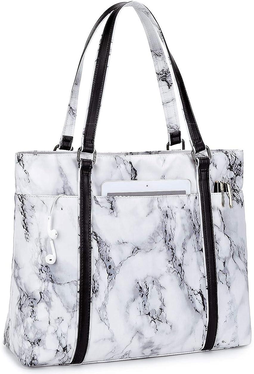 Women Laptop Tote Bag for Work Marble Handbag Purse Shoulder Bag Lightweight Water-resistant Laptop Bag for 15.6 Inch (Marbling White)