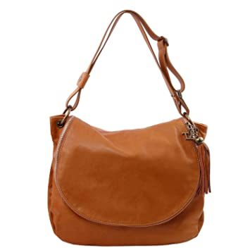 c6c51fb99695 Amazon.com  Tuscany Leather TLBag Soft leather shoulder bag with tassel  detail Cognac  Tuscany Leather Official Store