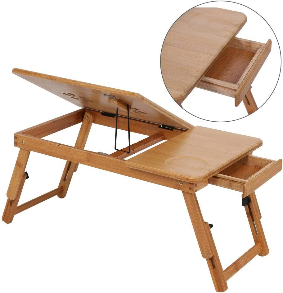 Folding Laptop Desk Adjustable Notebook Stand with Drawer Cooling Holes Anti-Slip Baffle and Line Cord Slop for Bed and Sofa 50/×30/×20 cm LRQHHZYQ Wooden Laptop Table