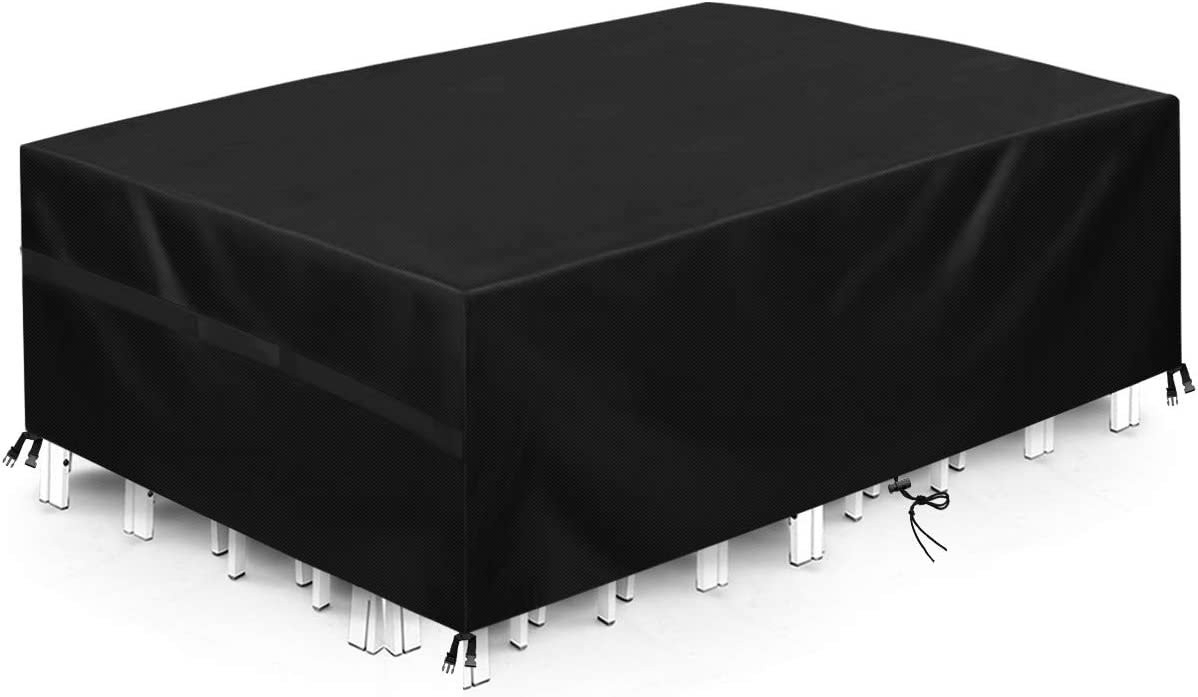 king do way Outdoor Patio Furniture Covers, 246x162x102cm 600D Oxford Polyester Extra Large Size Furniture Set Covers Fits to 8-10Seat Black 96''x64''x40''