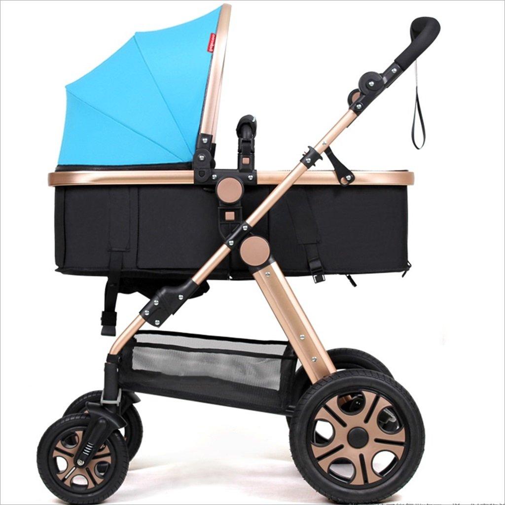 新生児の赤ちゃんキャリッジ折りたたみ可能な座って、1ヶ月のためのダンピングの赤ちゃんカートに落ちることができます 3歳の赤ちゃんの双方向四輪ベビートロリーを振るのを避ける (色 : 青) B07DV8TN8R 青 青