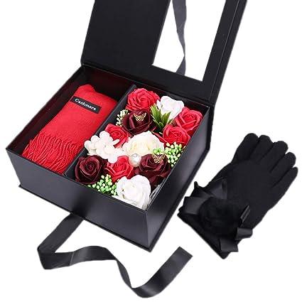 Amazon.com: Guantes cálidos para mujer con bufanda, caja de ...
