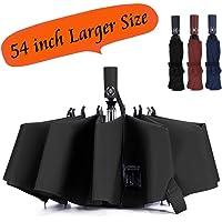 Umbrella Large Inverted Folding Umbrellas Windproof Compact Folding Auto open close 10 ribs - Black