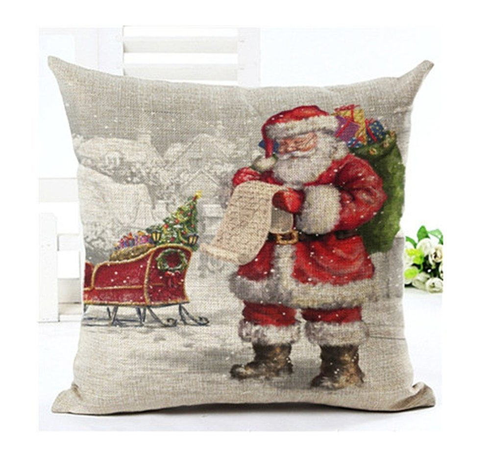 Lyn Cotton Linen Square Throw Pillow Case Decorative Cushion Cover Pillowcase for Sofa 18 X 18  Christmas pillow 4