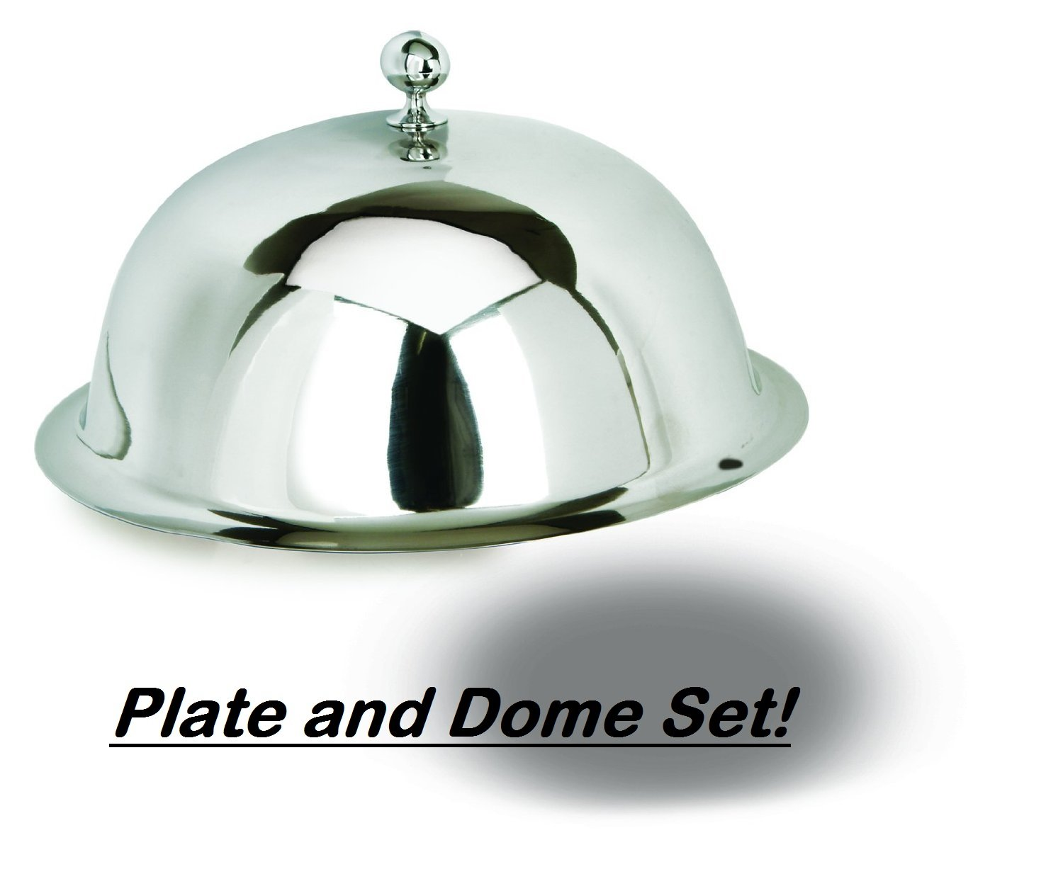 "Dome Food Plate Cover Set, 12"" Stainless Steel Lid with Fancy Finial & 14"" Round Classic Border Tray Platter – Restaurant Serving Dish – Hotel Service Set"