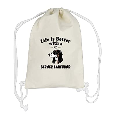 best Canvas Drawstring Backpack Life Is Better Berner Laufhund Dog Style In Print