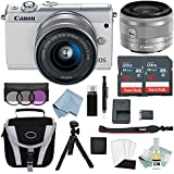 Canon EOS M100 Mirrorless Digital Camera (Black) With 15–45mm f/3.5–6.3 IS STM Lens + Canon M100 Deluxe Accessory Bundle - M100 Mirrorless Camera Includes EVERYTHING You Need To Get Started