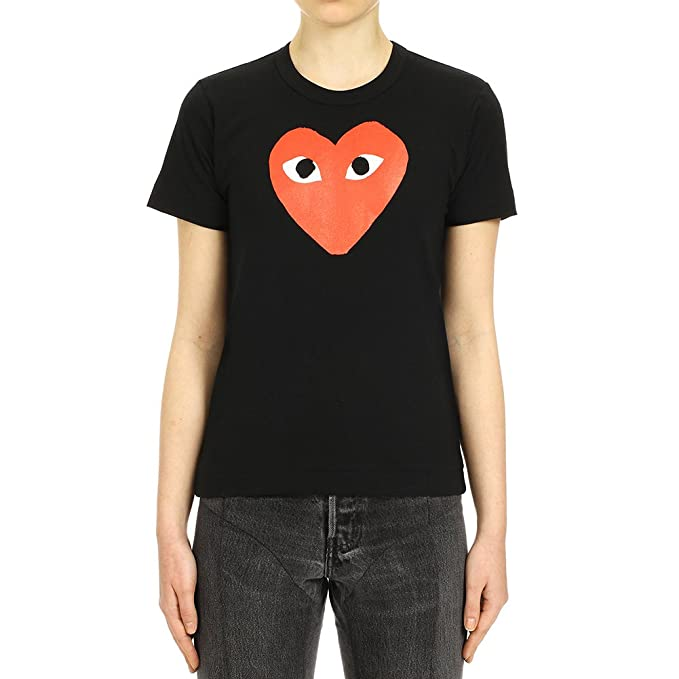 60456bbab8df0 Comme des Garcons Play Women s Red Heart Print T-Shirt P1T111 Black ...