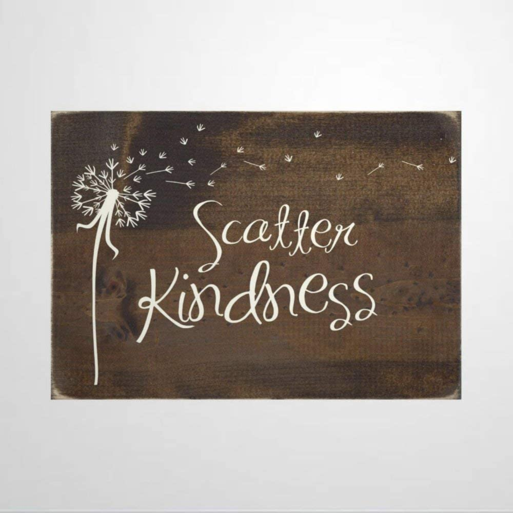 BYRON HOYLE Scatter Kindness Wood Sign,Wooden Wall Hanging Art,Inspirational Farmhouse Wall Plaque,Rustic Home Decor for Living Room,Nursery,Bedroom,Porch,Gallery Wall