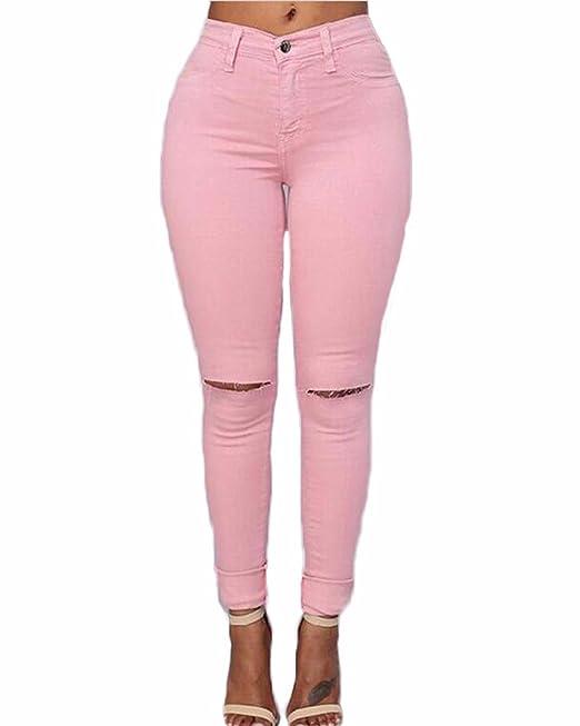 Auxo Pantalones Mujer Cintura Alta Vaqueros Rotos Elástico Flacos Skinny Denim Leggings Slim Jeans Mezclilla Apretado