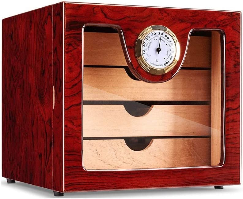 Eahkgmh Cigar Humidor Cabinet With Digital Hygrometer And Humidifier Holds 50 Cigars Home Kitchen