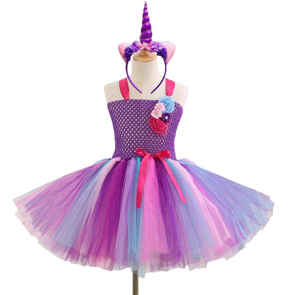 Fenical Phantasie Baby Mä dchen Tutu Kleid Einhorn Stirnband Weihnachten Halloween Kostü m Mä dchen Party Kleider 4-5Y (lila)