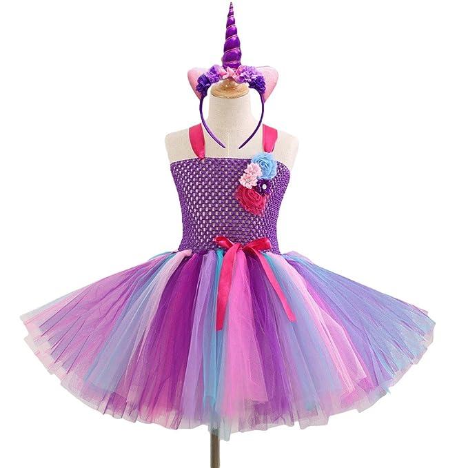 FENICAL Fancy Girl Tutu Dress Diadema Unicornio Niñas vestidos de fiesta 6-7Y para Navidad
